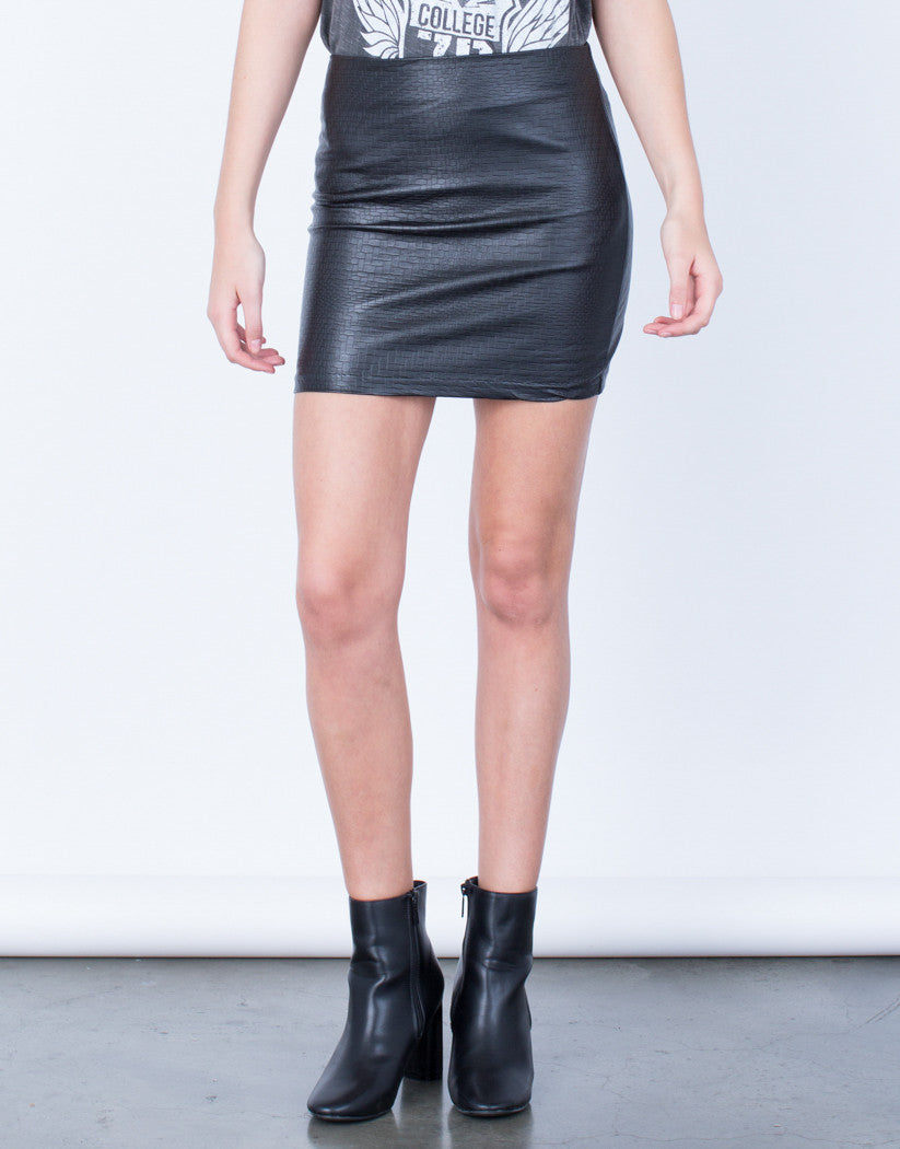Front View of Mini Leather Skirt