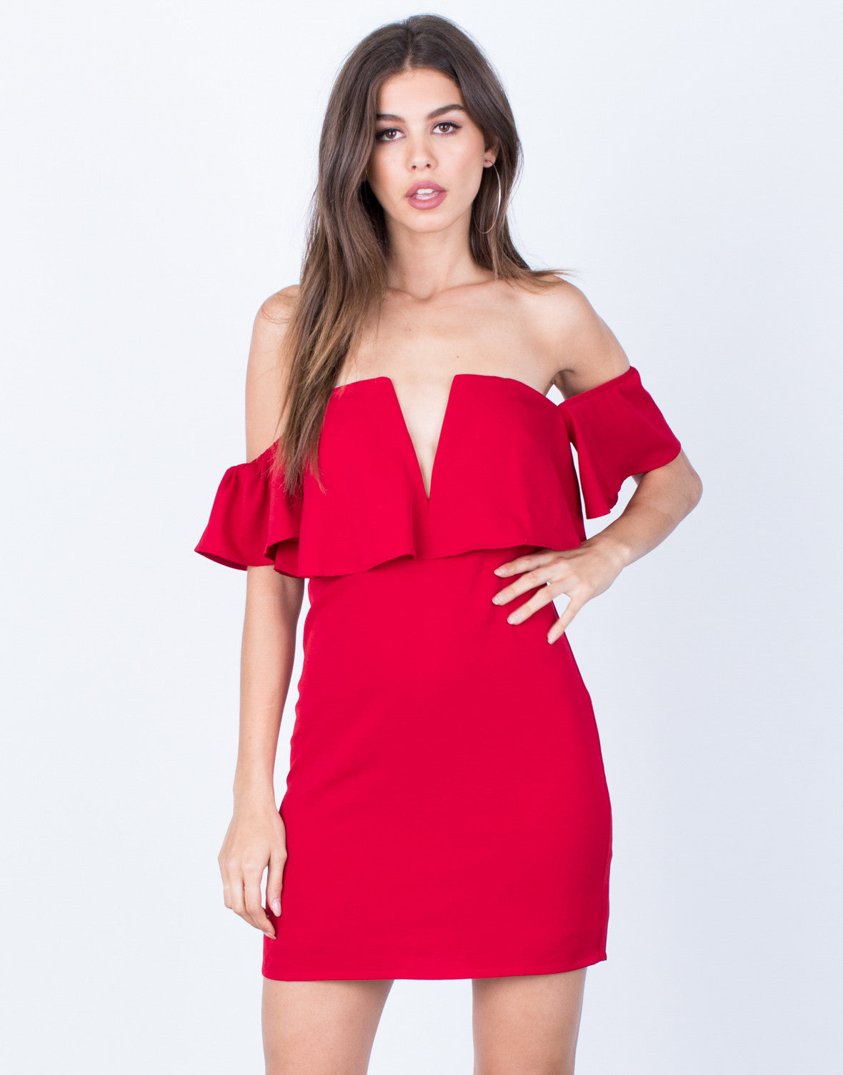 Front View of Mini Off-the-Shoulder Dress