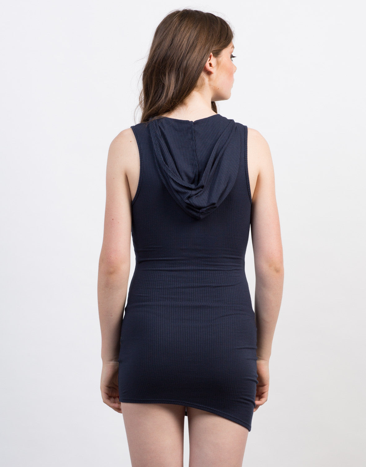 Back View of Mini Ribbed Day Dress