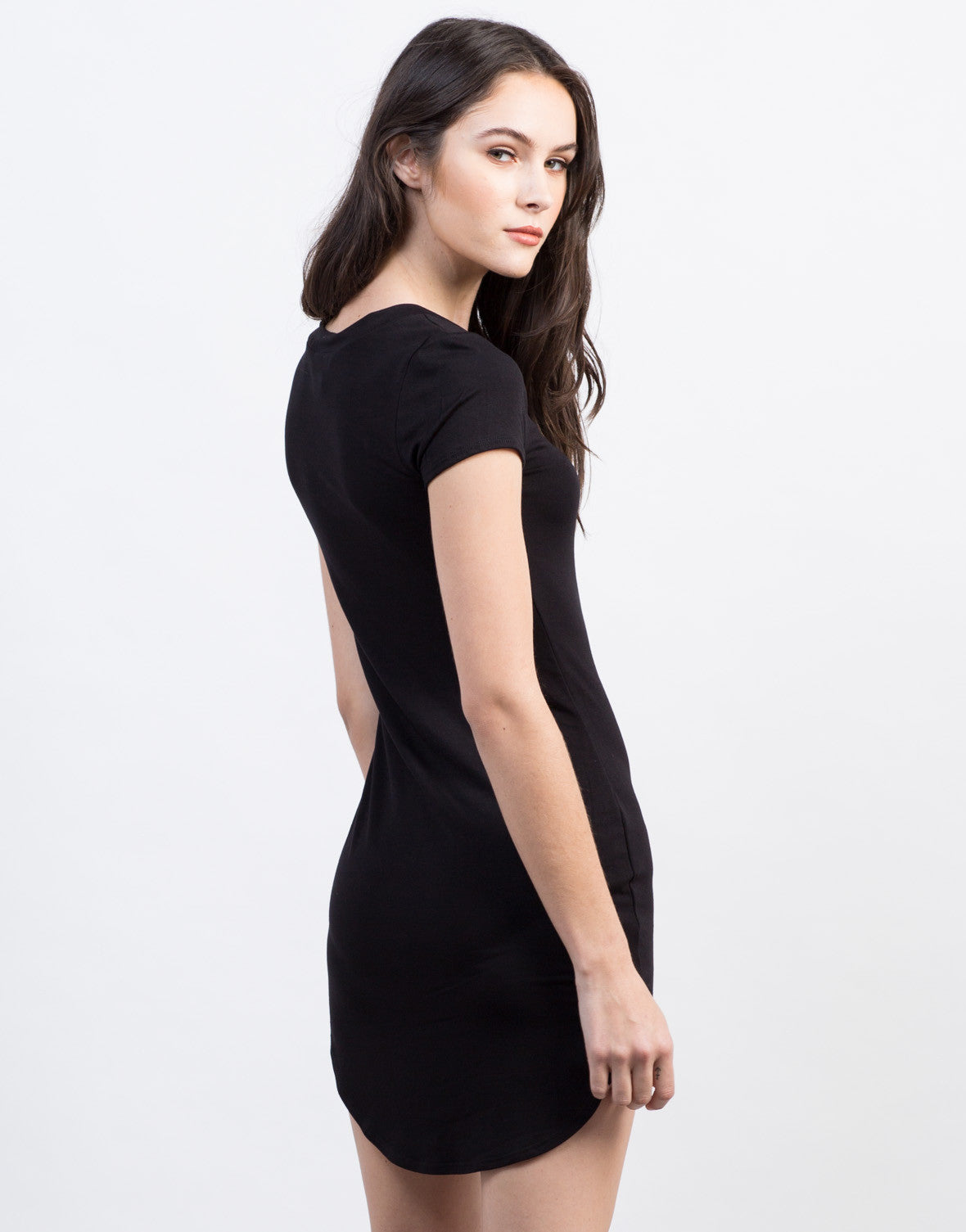 Back View of Mini T-Shirt Dress