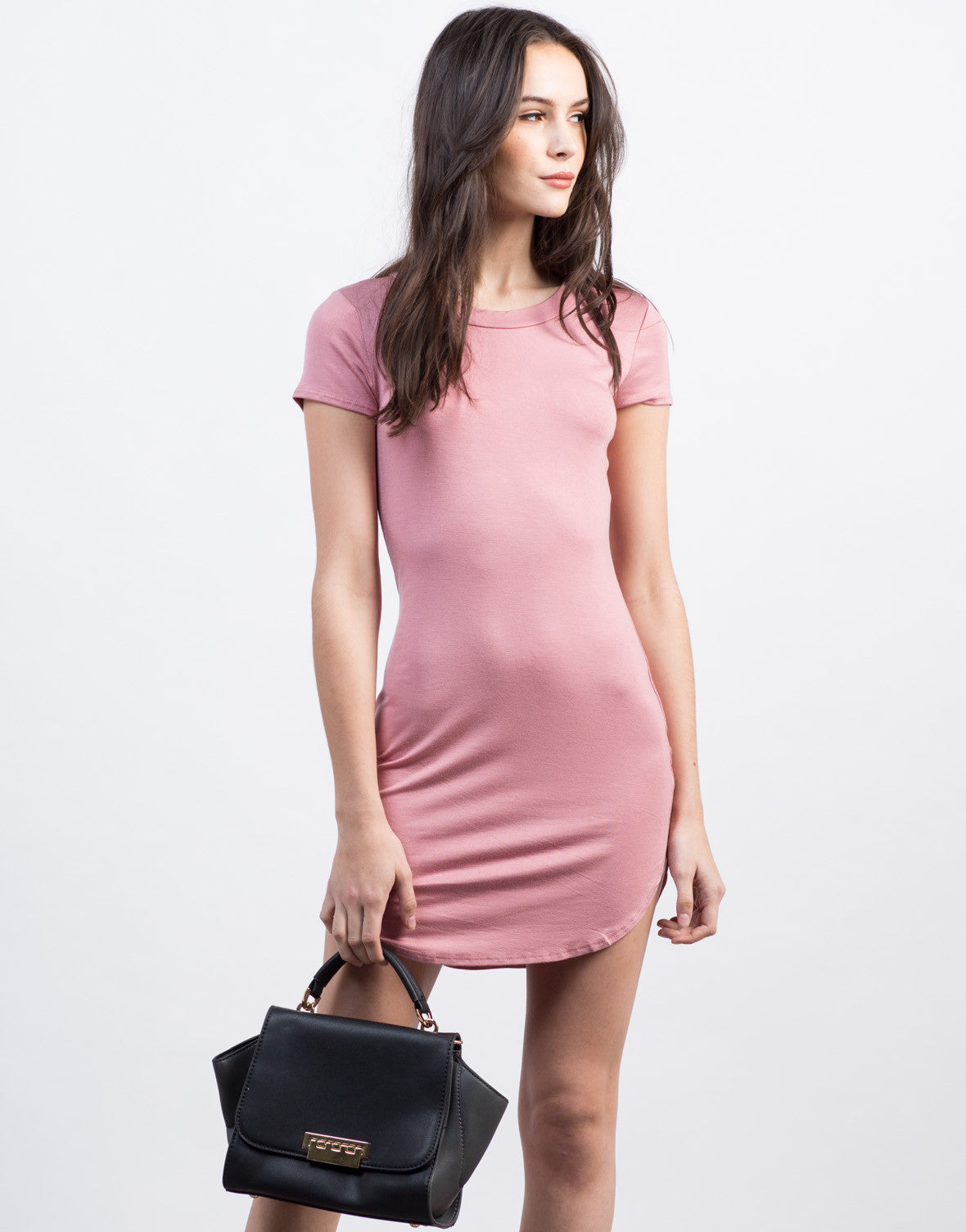 Front View of Mini T-Shirt Dress