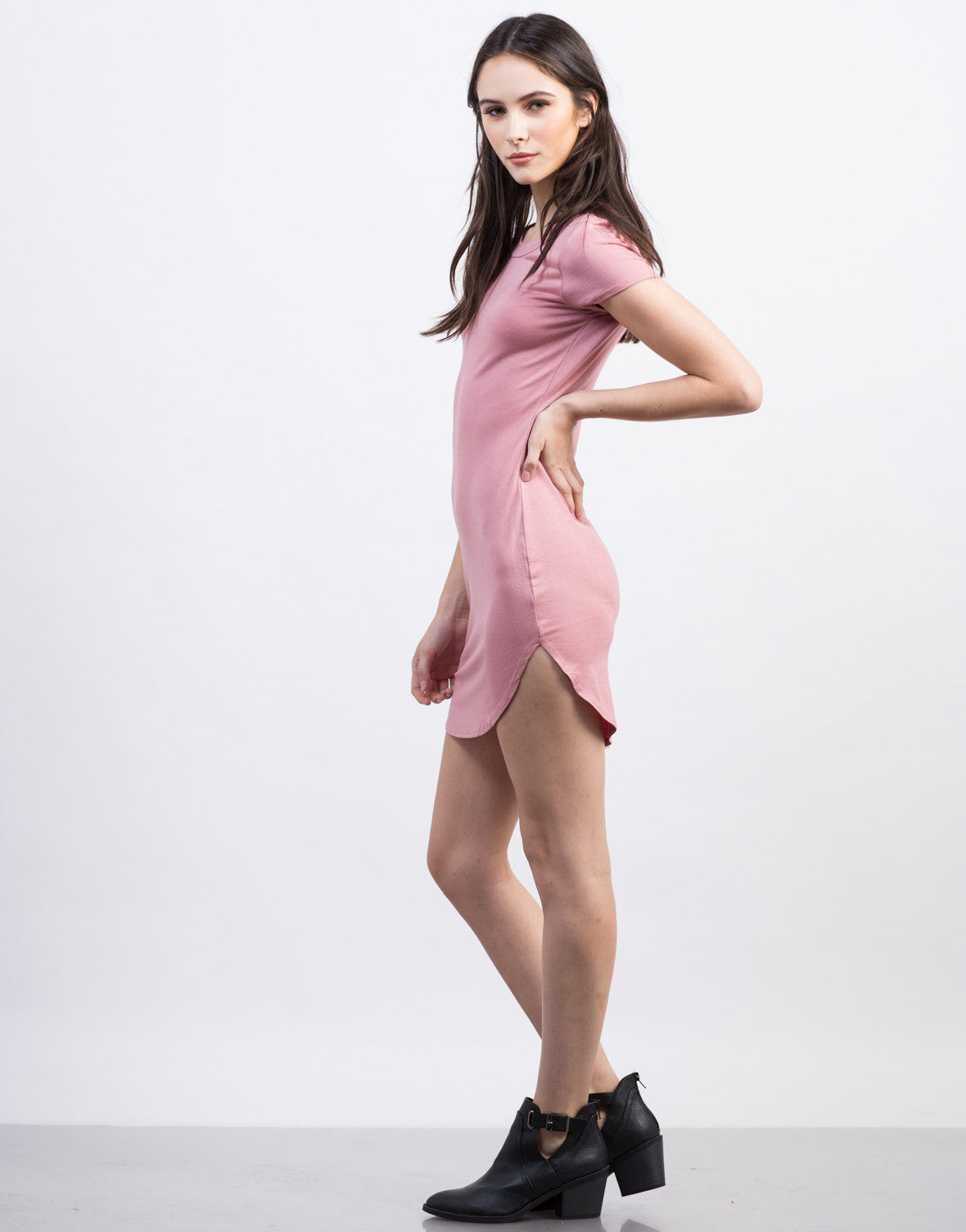 Side View of Mini T-Shirt Dress