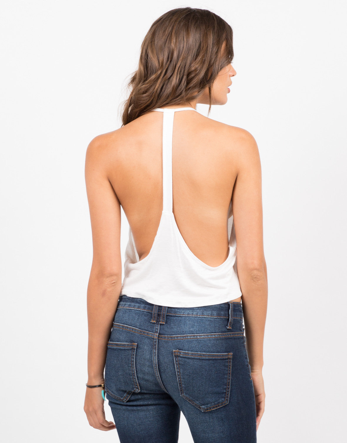 Back View of Mini Halter Crop Top