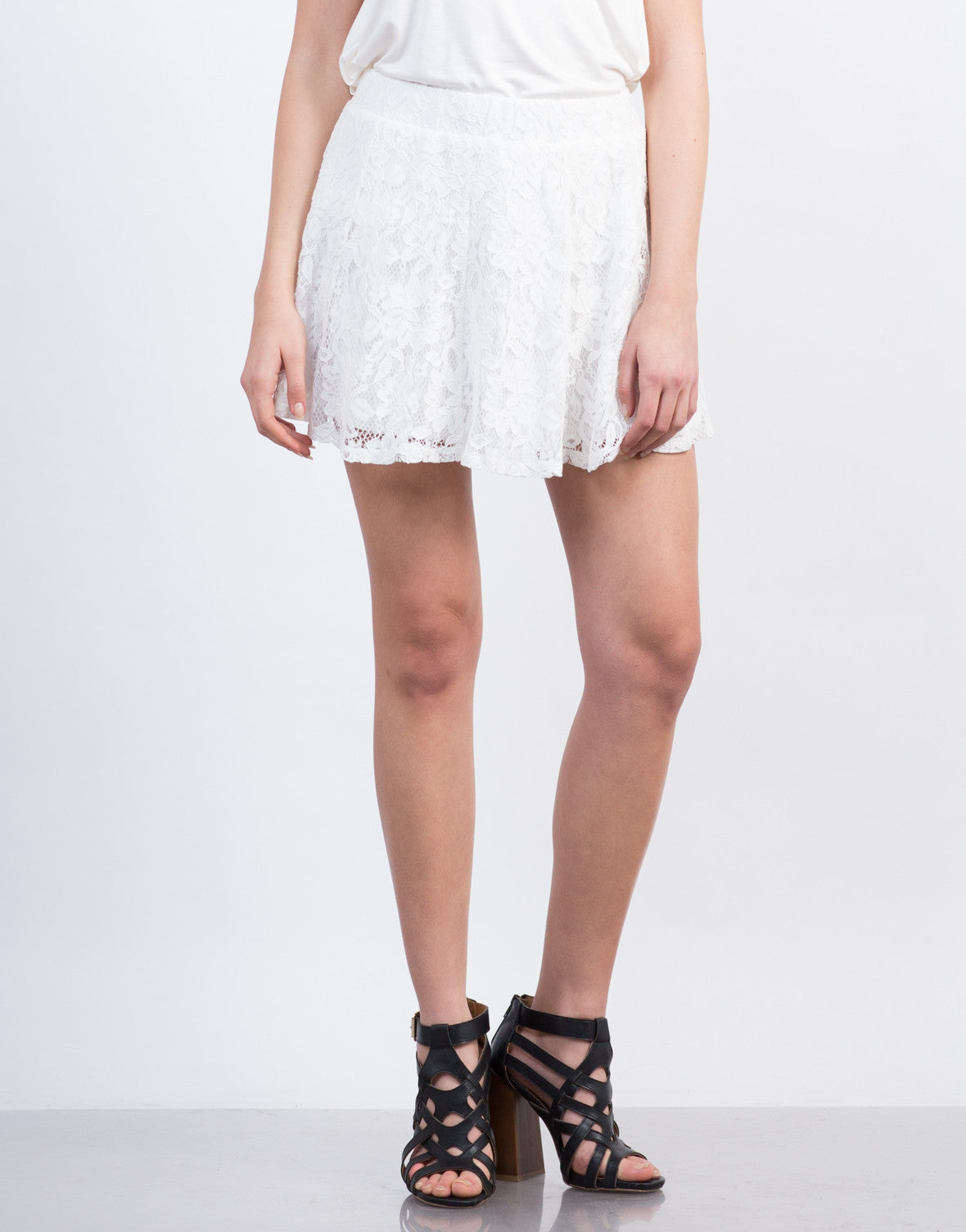 Front View of Mini Lace Skirt