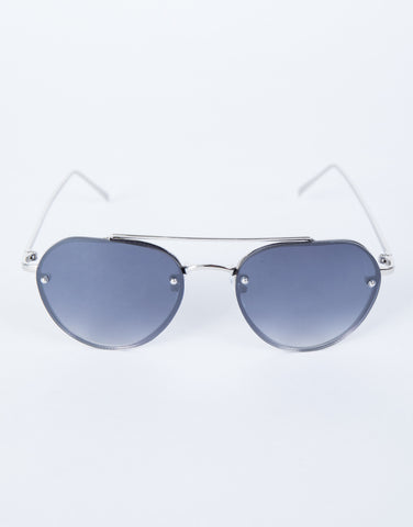 Black Minimal Aviator Sunnies - Front View
