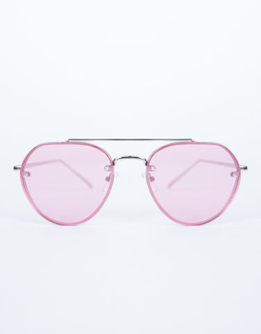Pink Minimal Aviator Sunnies - Front View