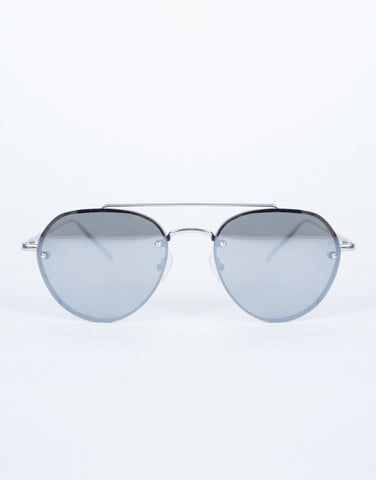 Silver Minimal Aviator Sunnies - Front View