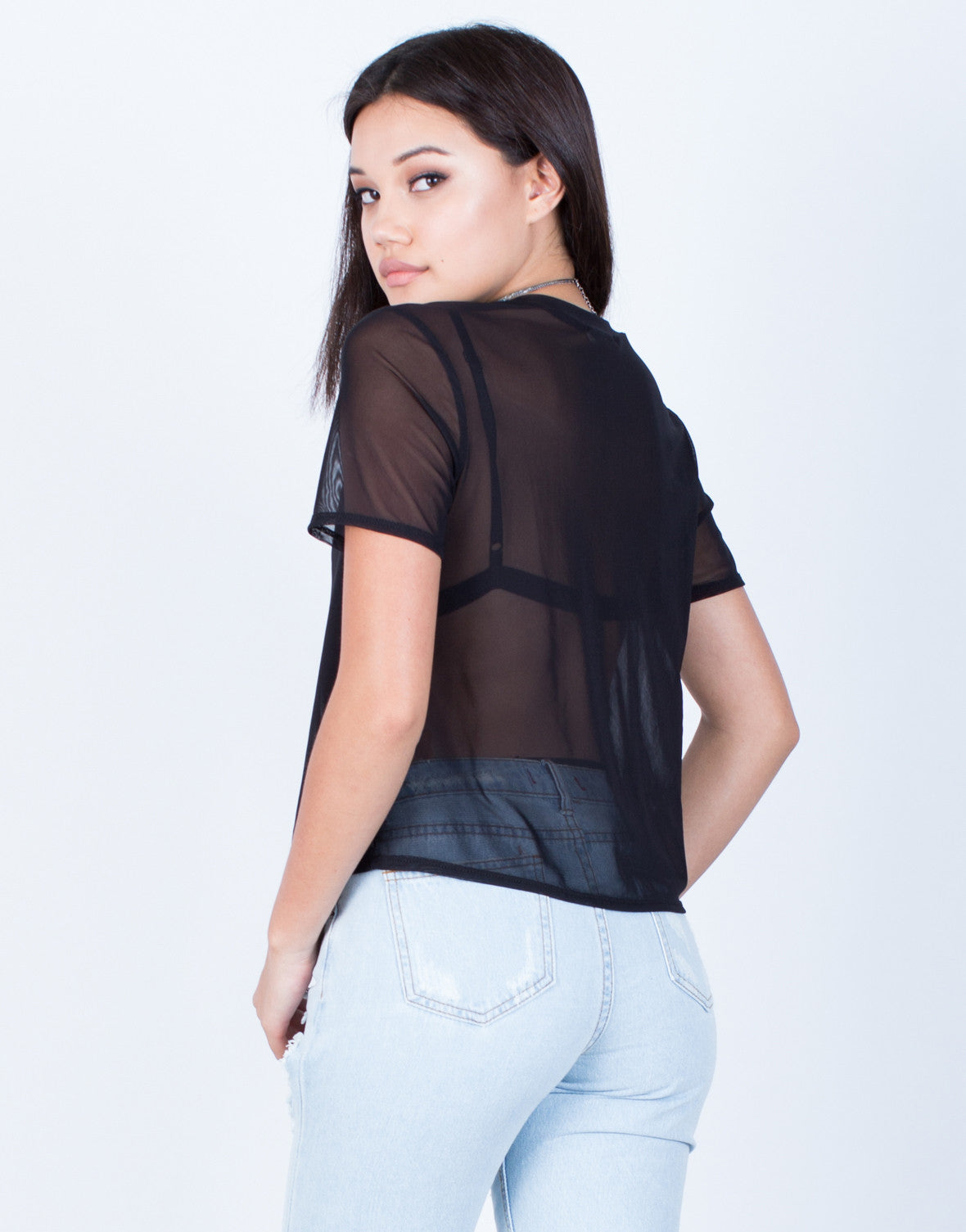 Back View of Minimal Mesh T-Shirt