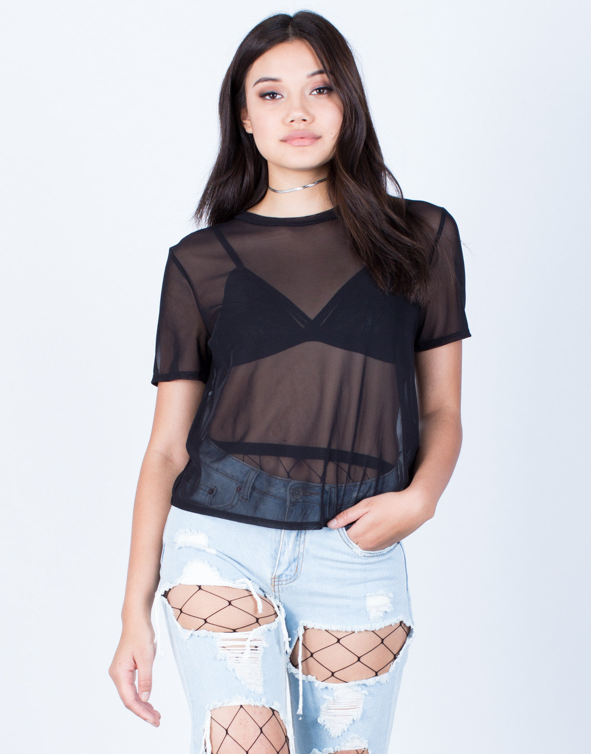 Front View of Minimal Mesh T-Shirt