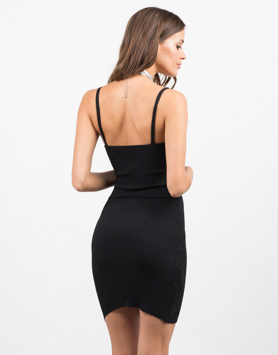 Back View of Mini Ribbed Dress