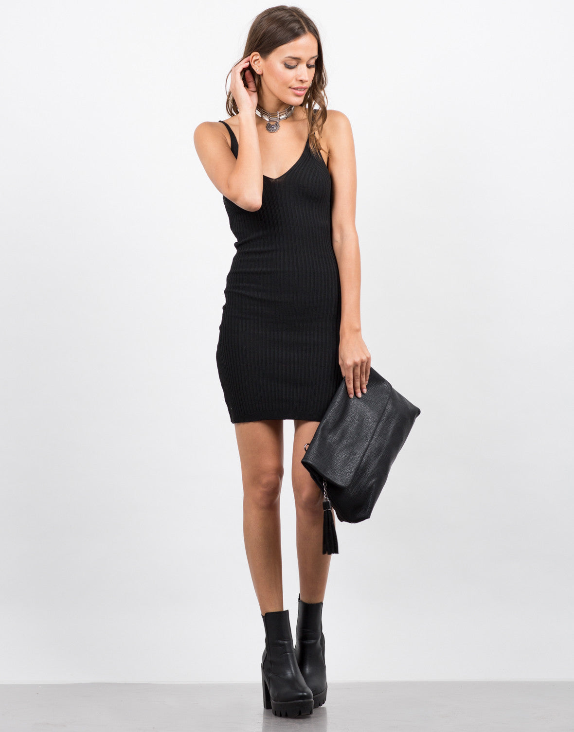Front View of Mini Ribbed Dress
