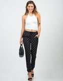Front View of Mini Squares Printed Pants