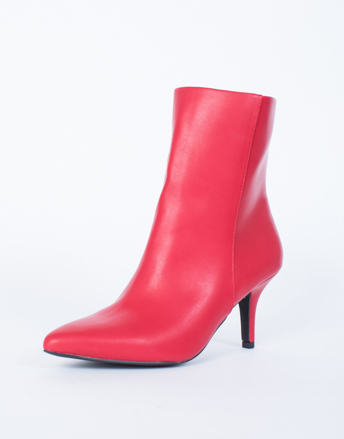 Red Miranda Ankle Boots - Side view