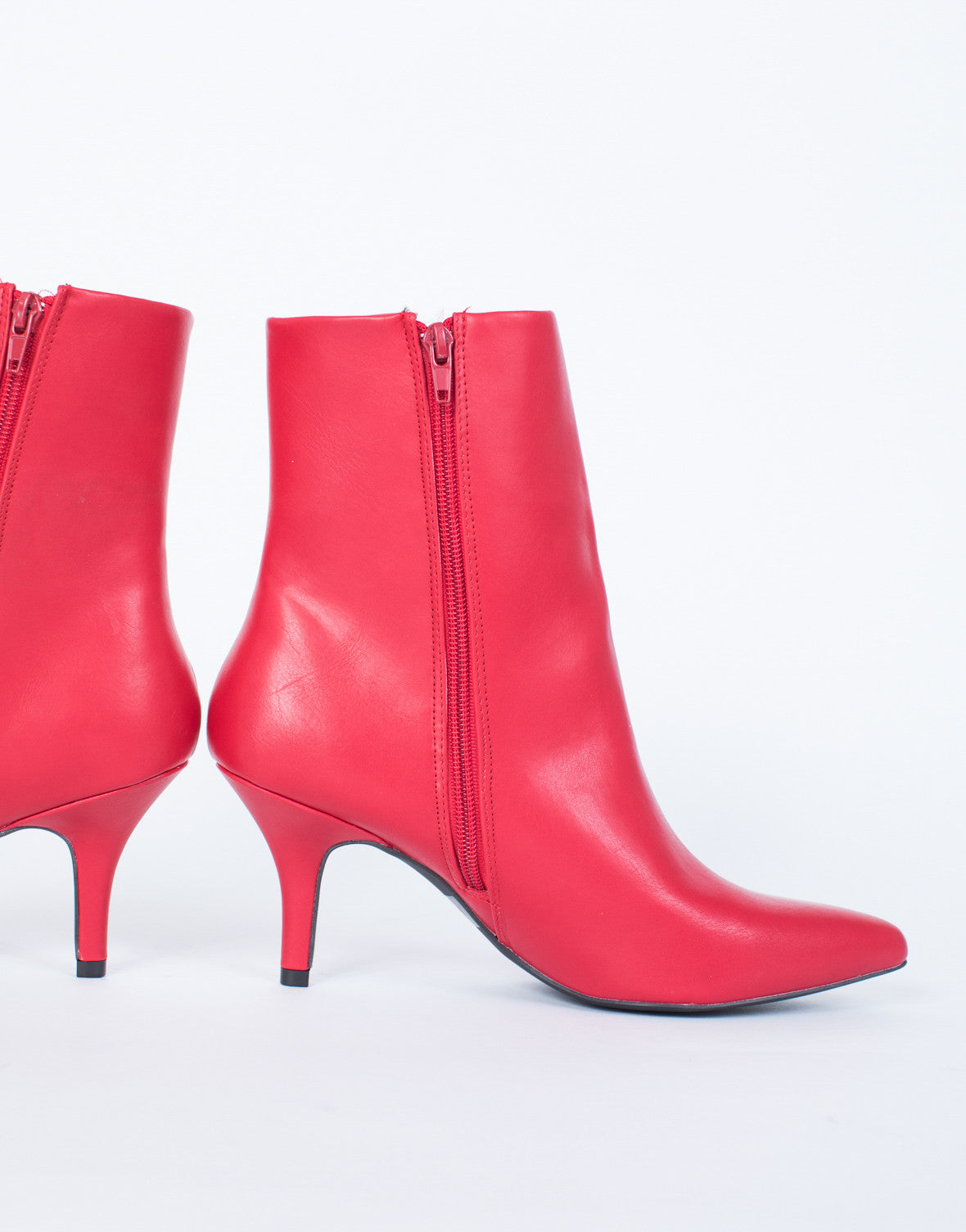 Red Miranda Ankle Boots - Detail