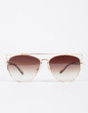 Mirrored Aviator Cut Out Bar Sunglasses