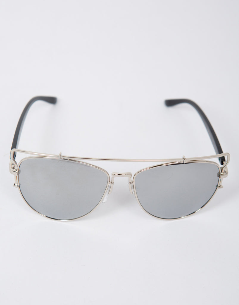 Mirrored Aviator Cut Out Bar Sunglasses - 2020AVE