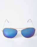 Front View of Mirrored Aviator Sunglasses