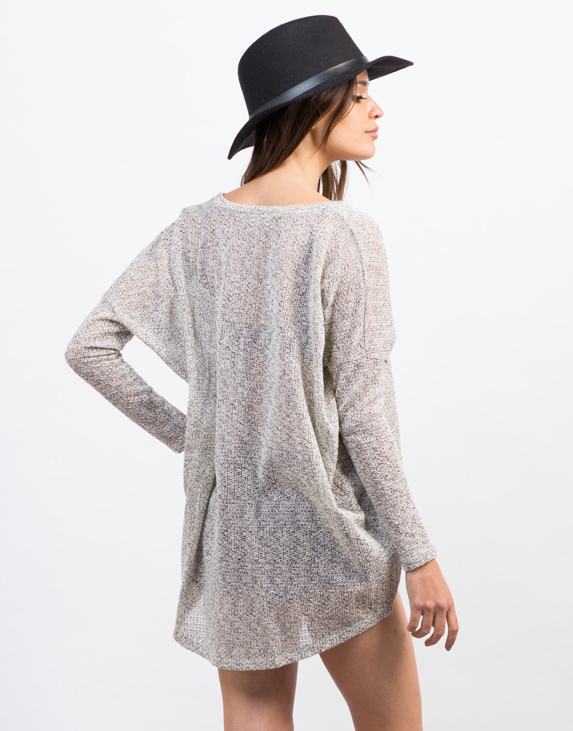 Back View of Mixed Knit Pocket Top