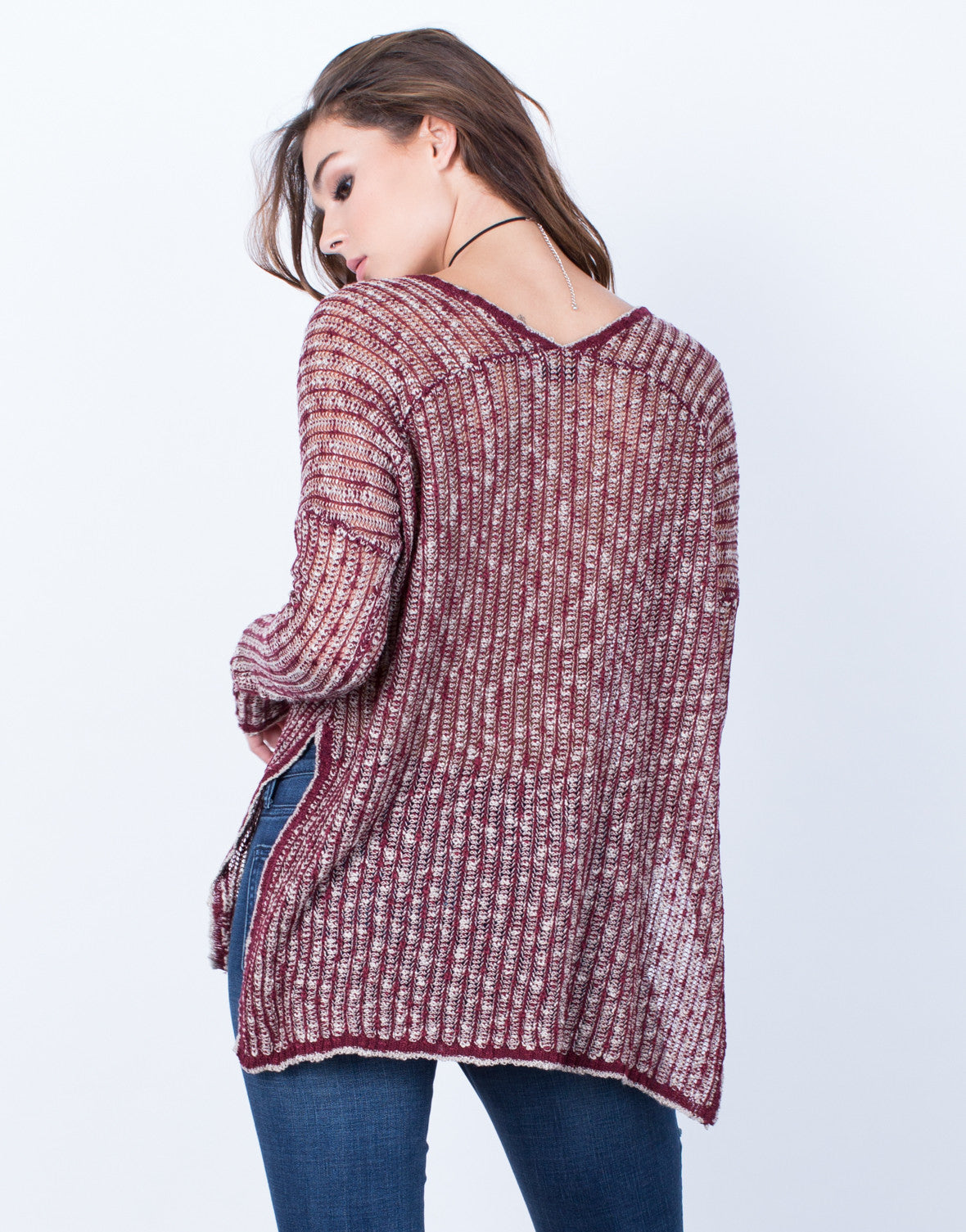 Back View of Mixed Knit Sweater