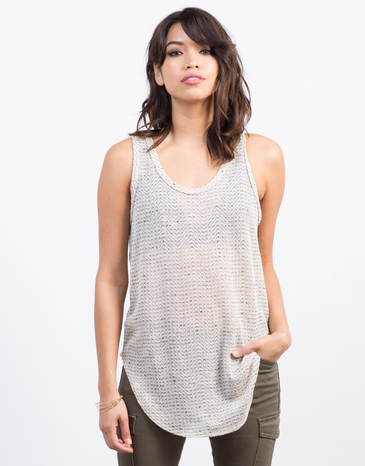 Front View of Mixed Knit Tank
