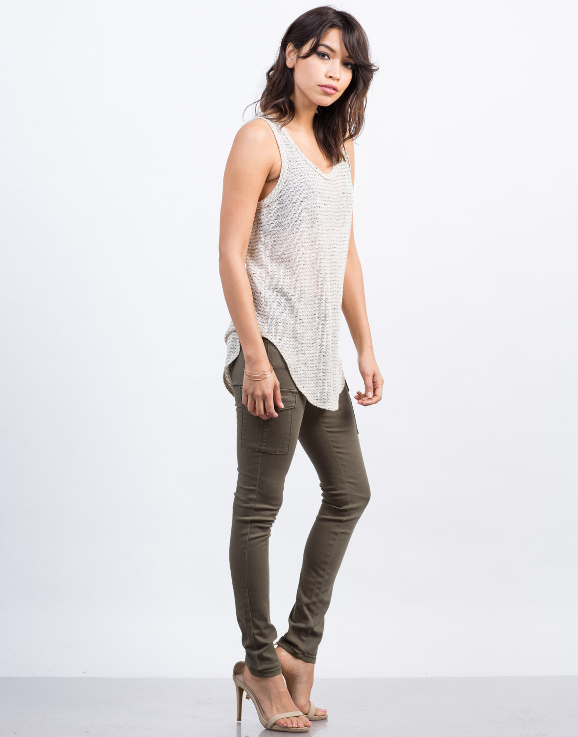 Side View of Mixed Knit Tank