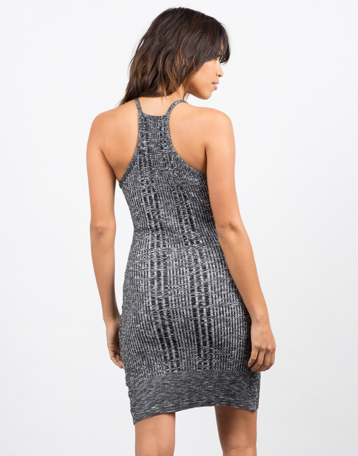 Back View of Mixed Knit Bodycon Dress