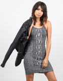 Mixed Knit Bodycon Dress - 2020AVE