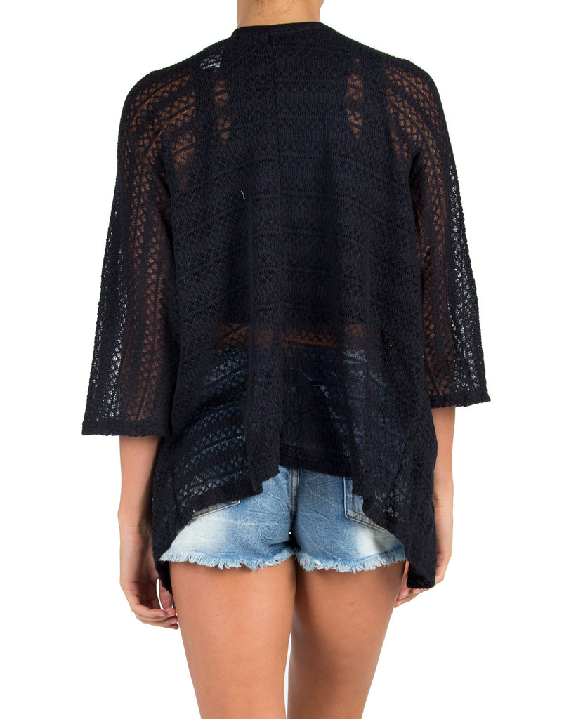 Mixed Knit Cardigan - Black - 2020AVE