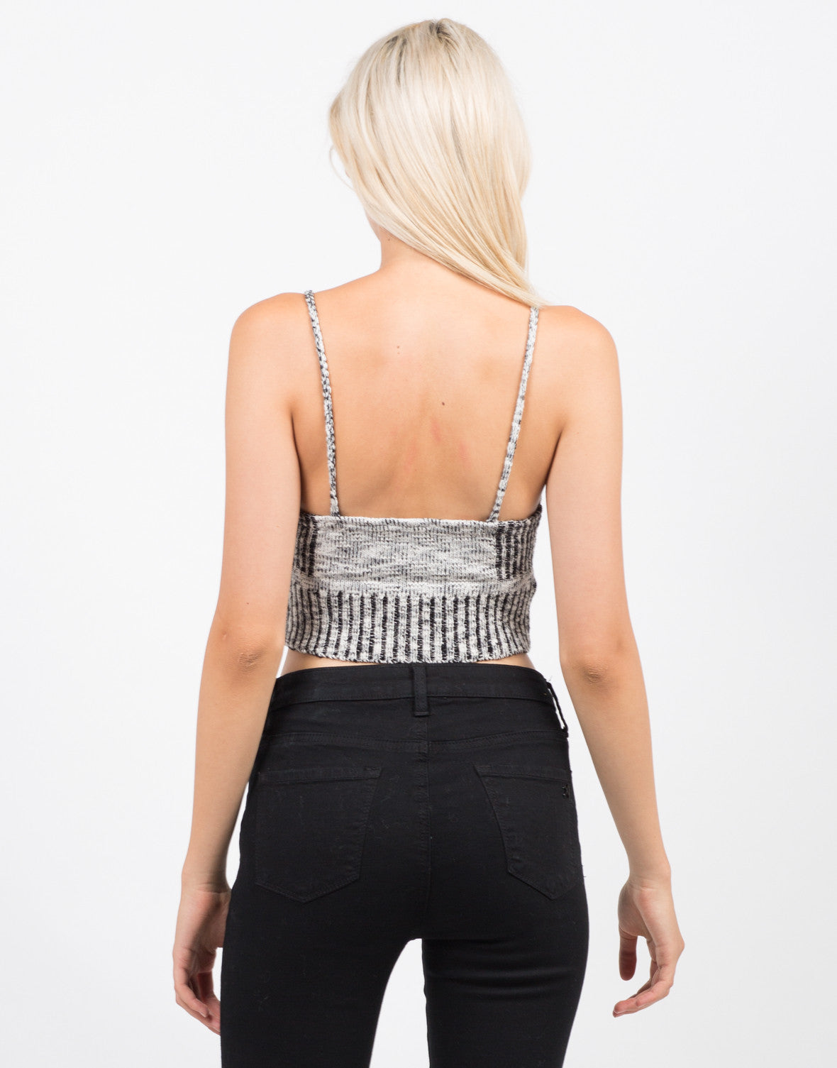 Back View of Mixed Knit Crop Top