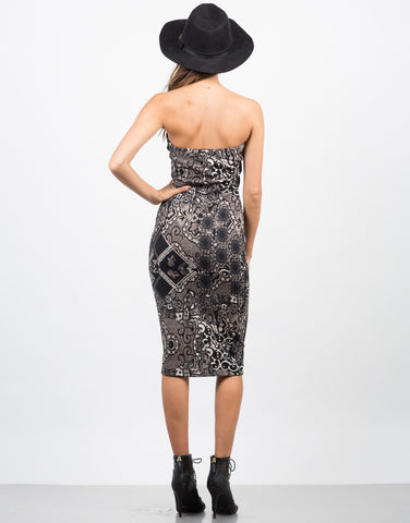 Back View of Mixed Paisley Printed Dress
