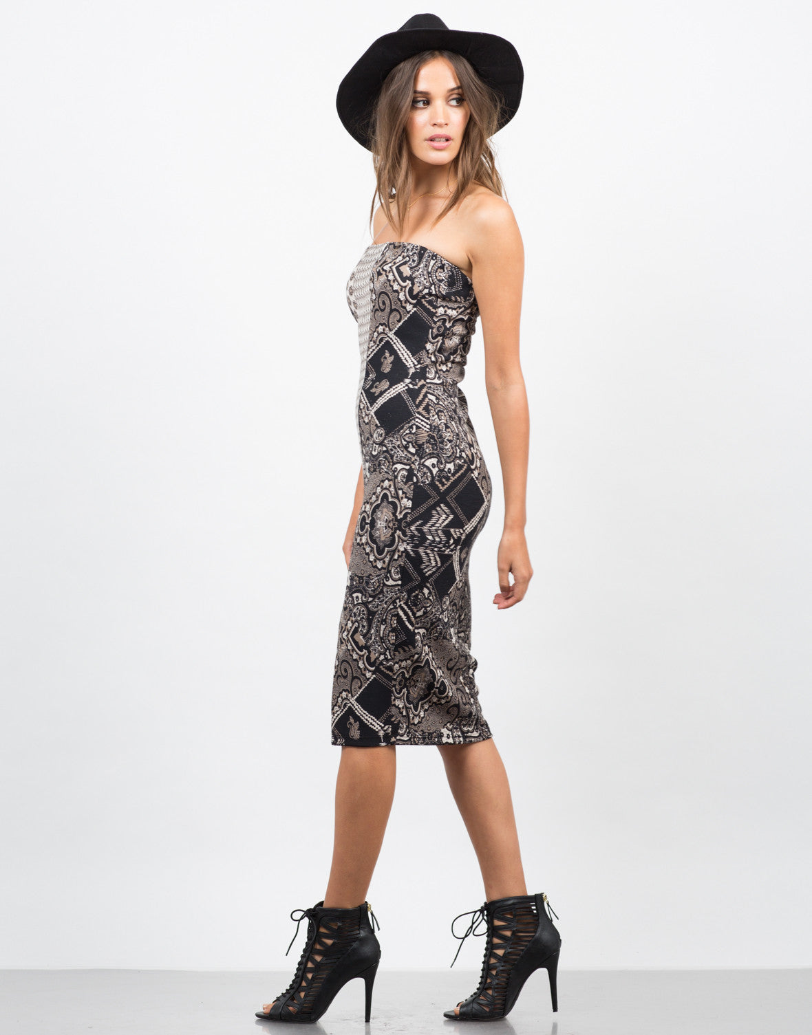 Side View of Mixed Paisley Printed Dress
