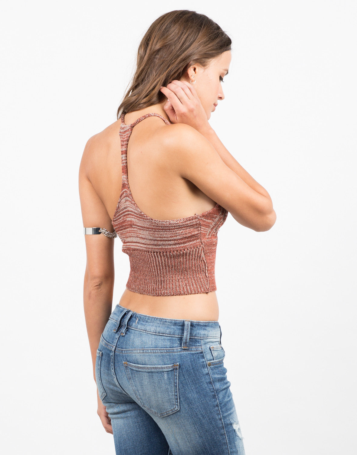 Back View of Mix Knit Racerback Tank