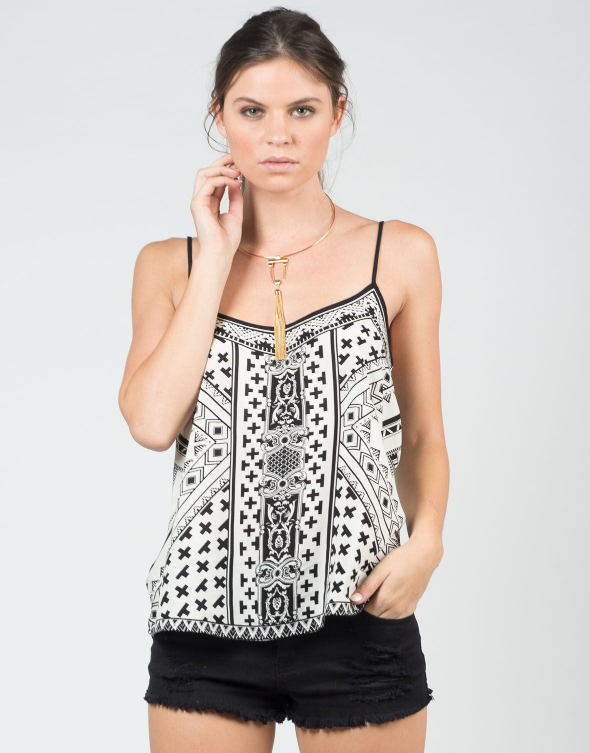 Front View of Mix Printed Cami Tank