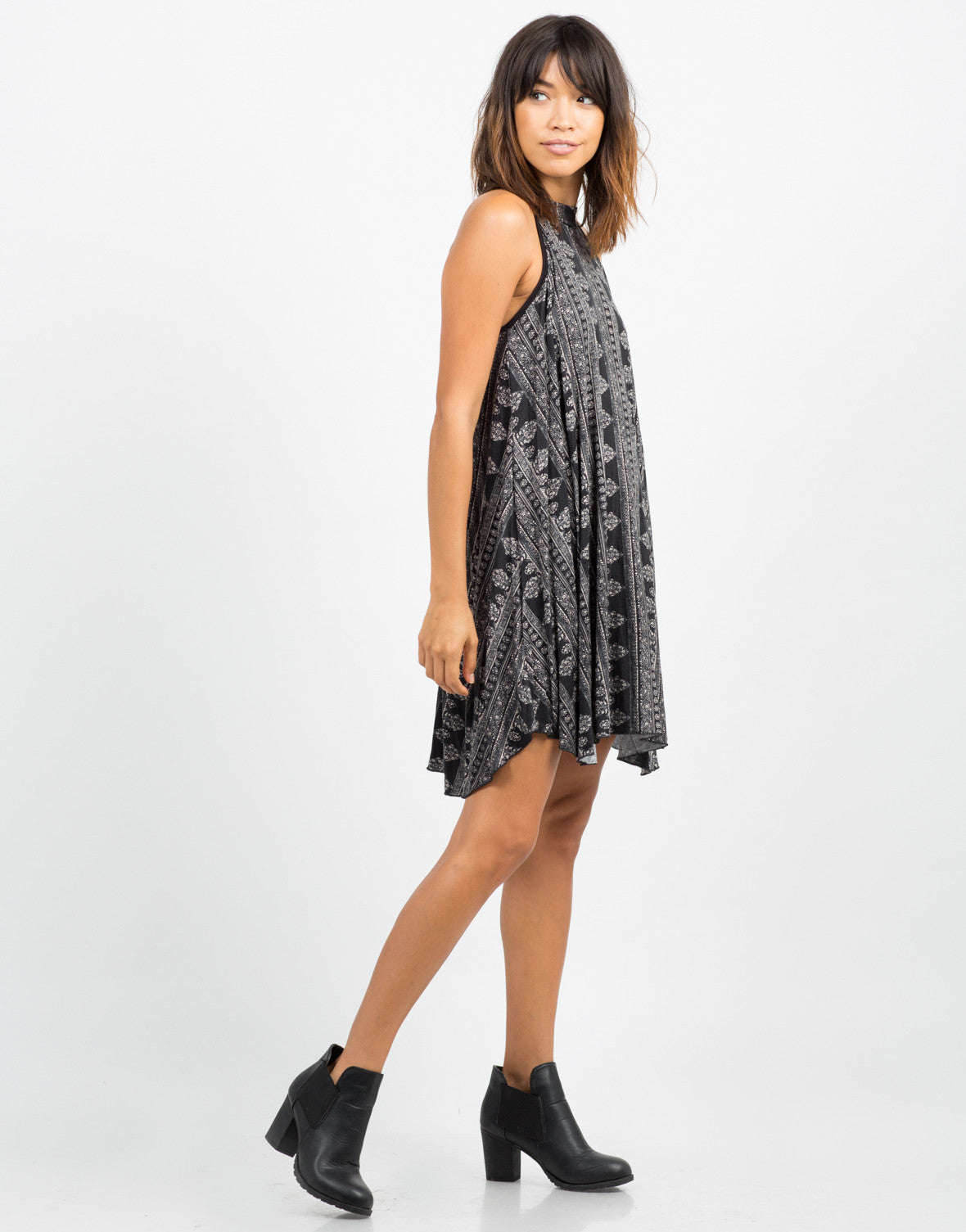 Side View of Mix Printed Swing Dress