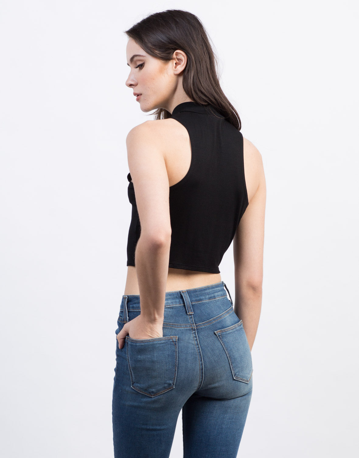 Back View of Mock Jersey Crop Tank