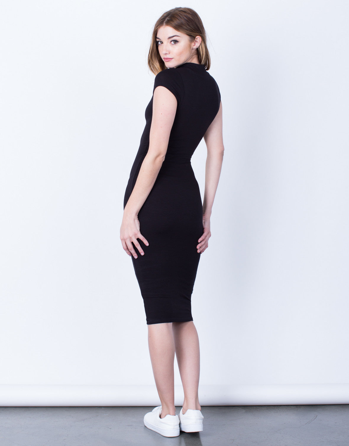 Back View of Mock Neck Basic Midi Dress