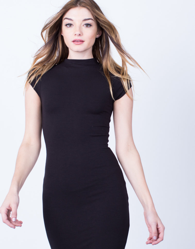 Detail of Mock Neck Basic Midi Dress