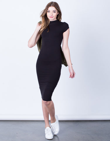 Front View of Mock Neck Basic Midi Dress