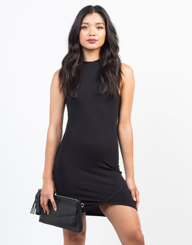 Front View of Mock Neck Bodycon Dress