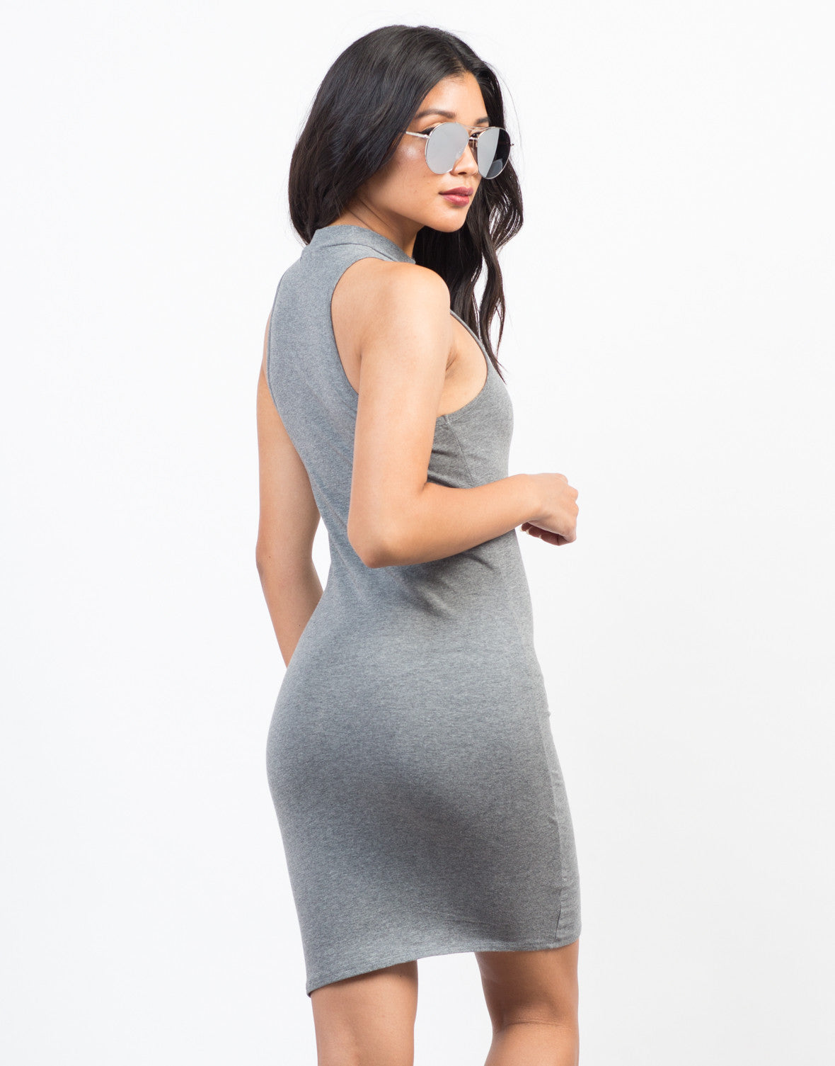 Back View of Mock Neck Bodycon Dress