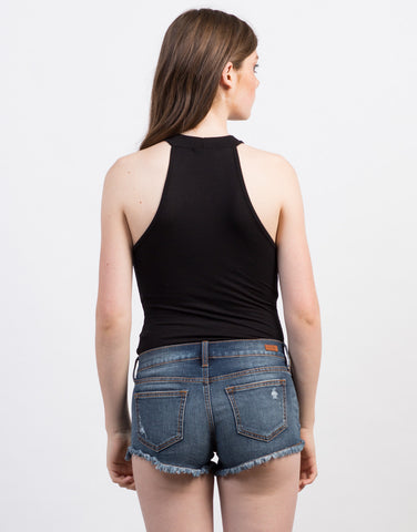 Back View of Mock Neck Ribbed Bodysuit