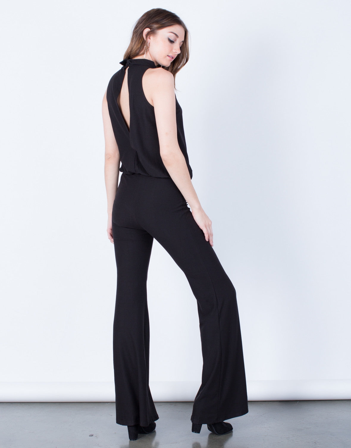 Back View of Mock Neck Jumpsuit