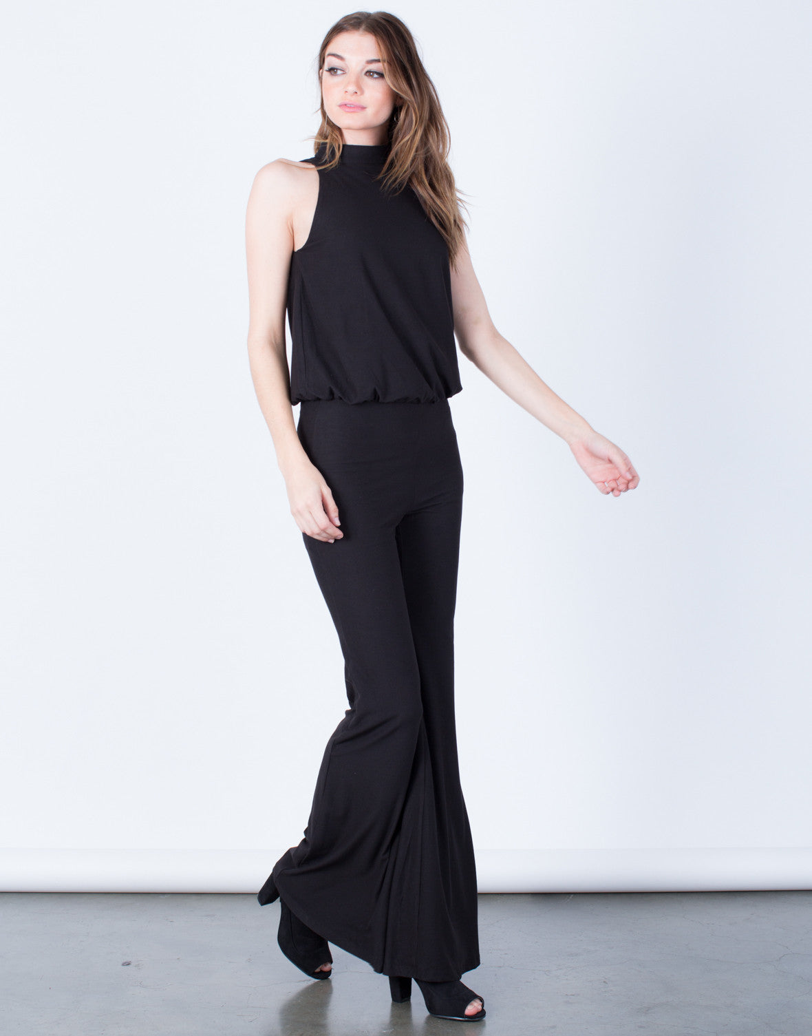 Side View of Mock Neck Jumpsuit