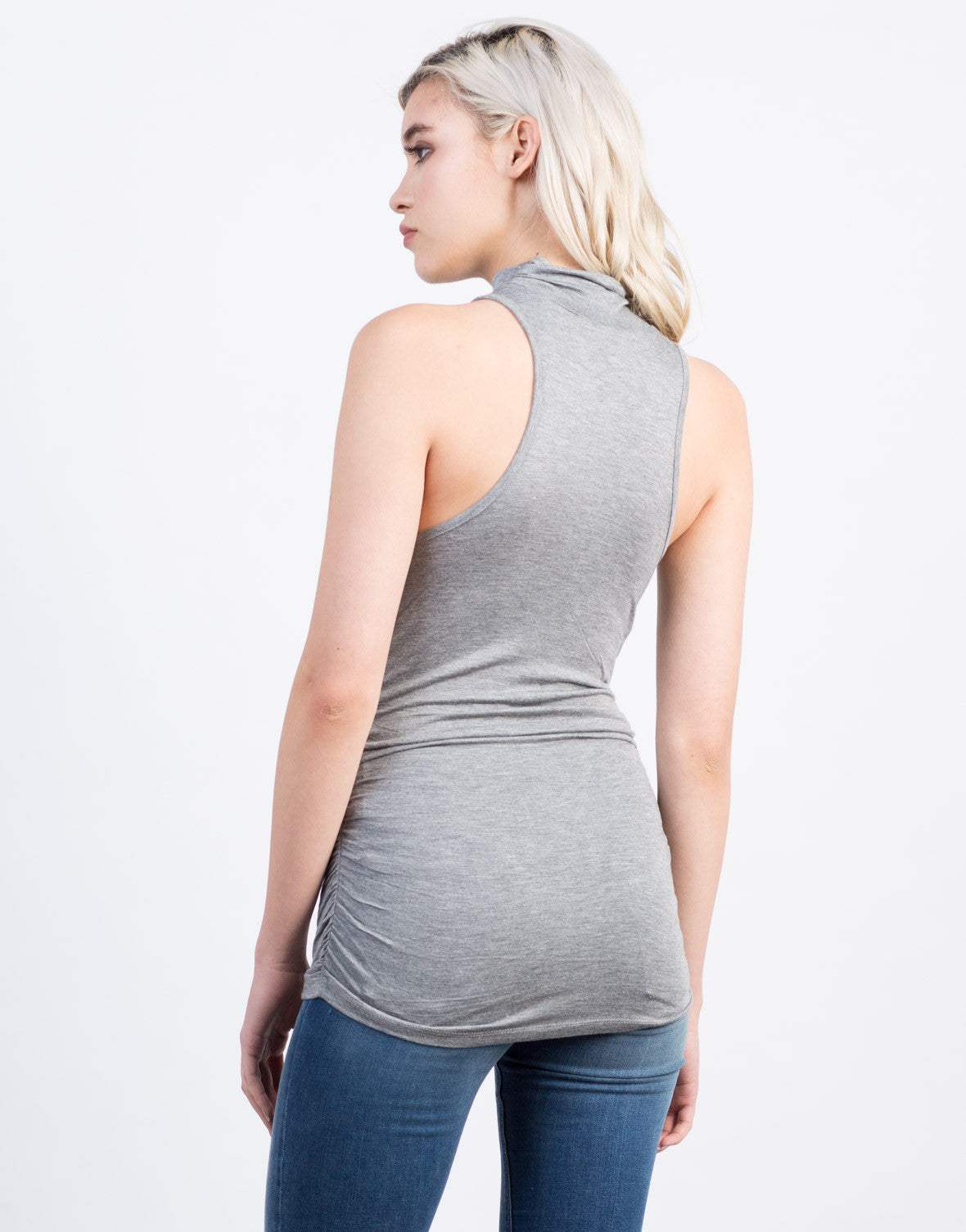 Back View of Mock Neck Sleeveless Tunic Top