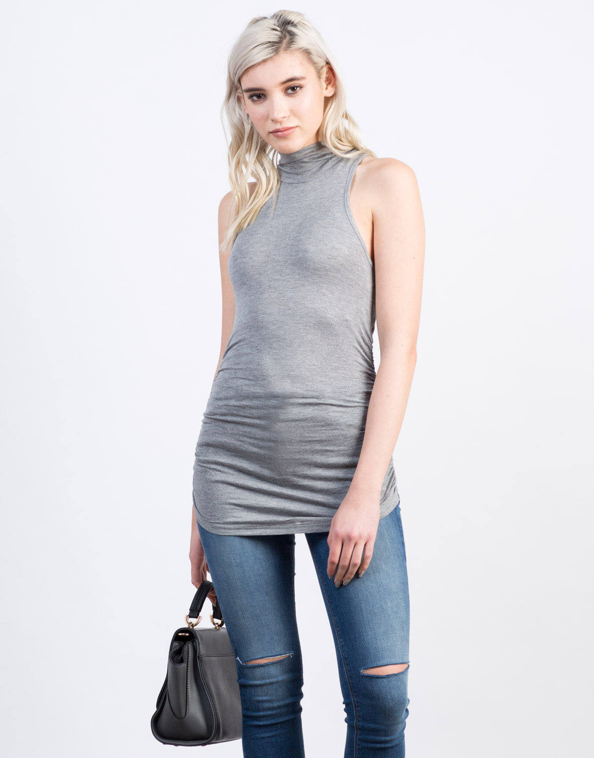 Front View of Mock Neck Sleeveless Tunic Top