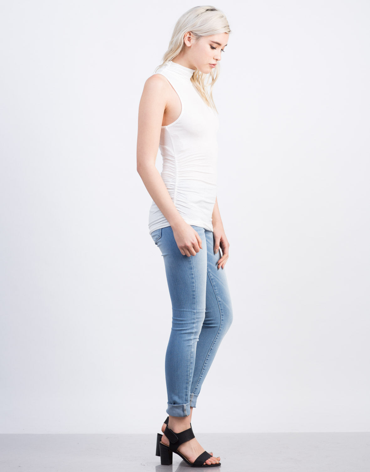 Side View of Mock Neck Sleeveless Tunic Top