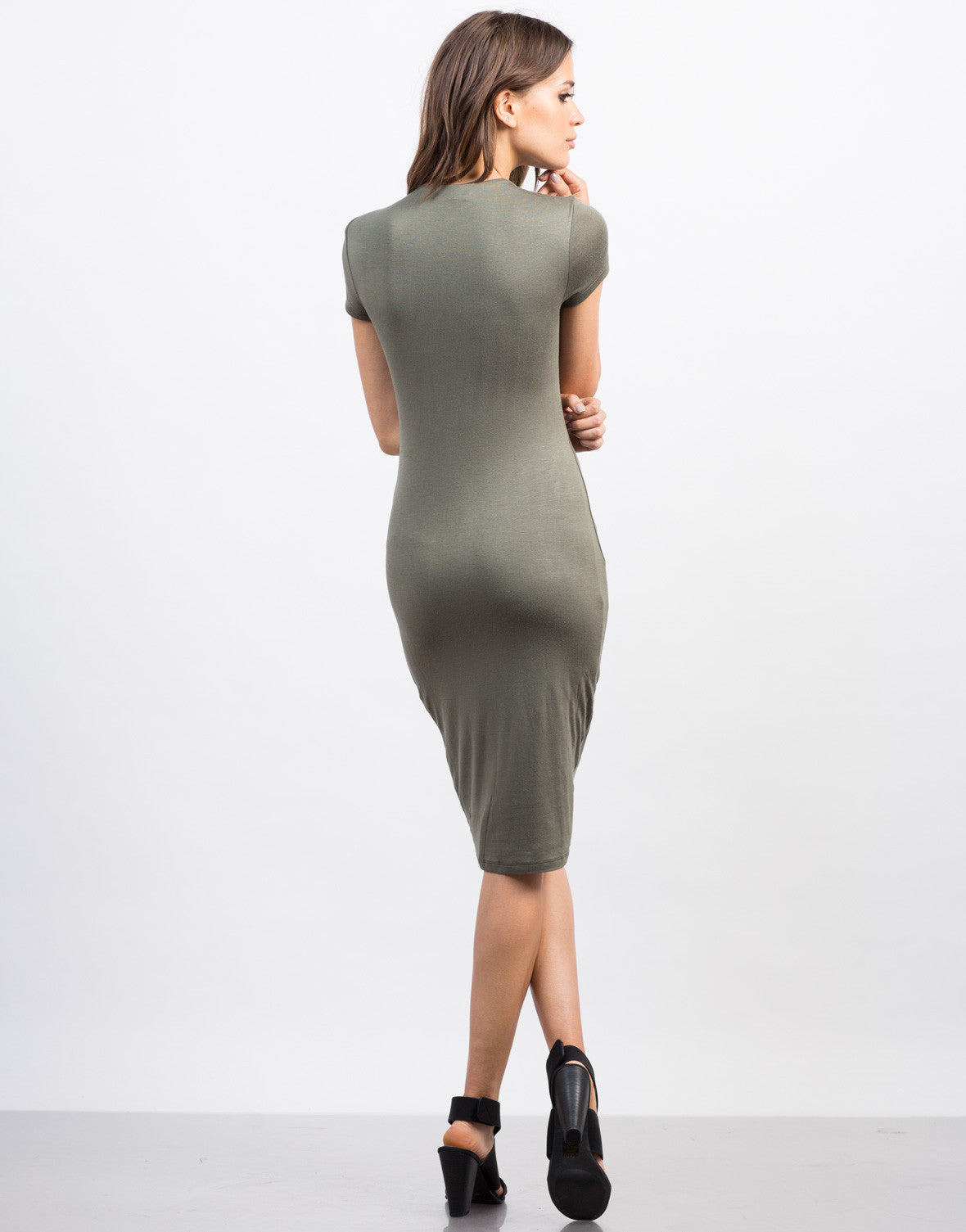 Back View of Mock Neck T-Shirt Dress
