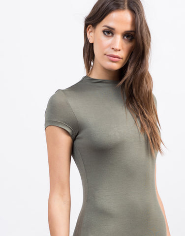 Detail of Mock Neck T-Shirt Dress