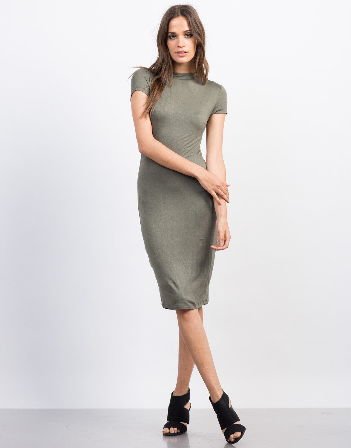 Front View of Mock Neck T-Shirt Dress