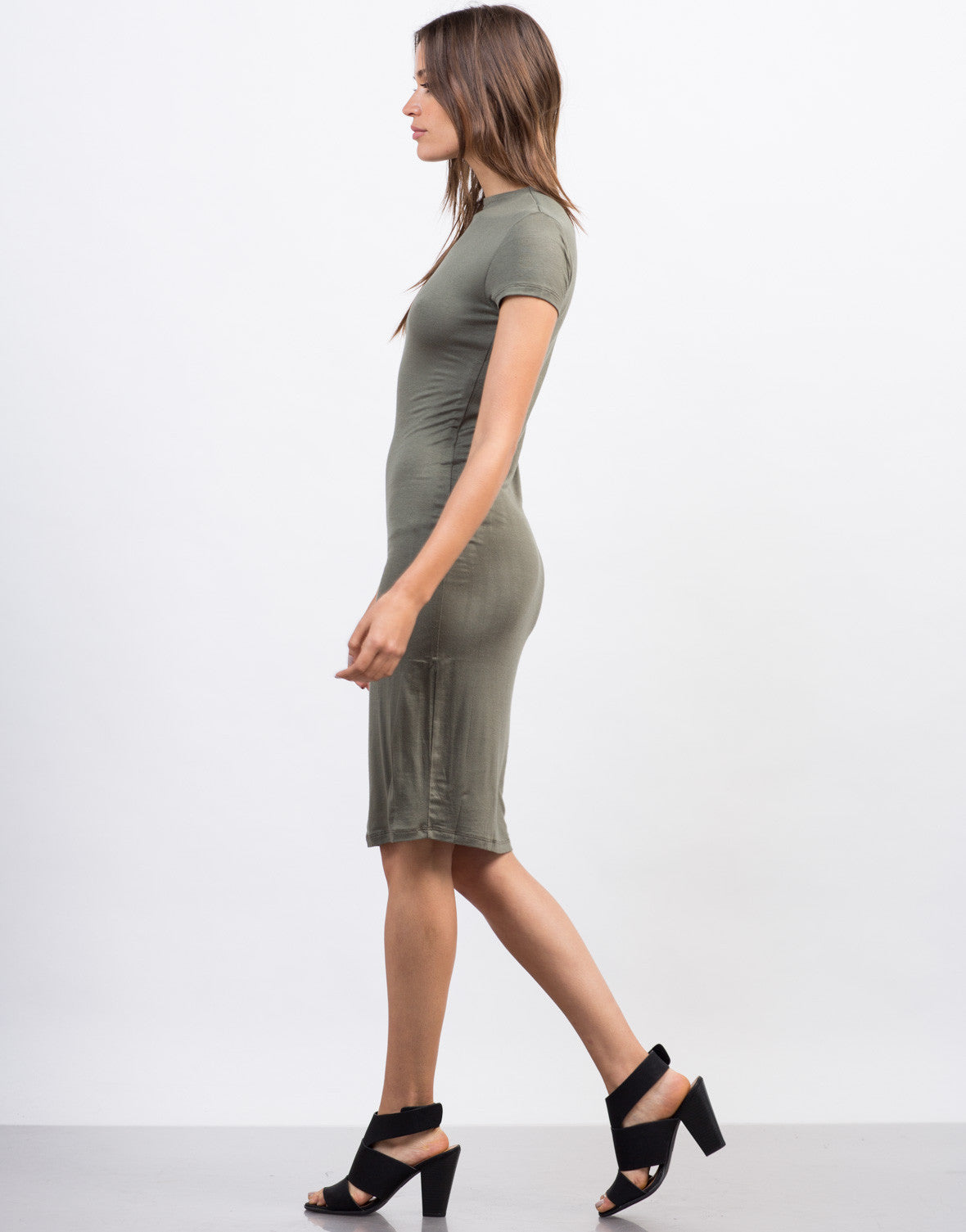 Side View of Mock Neck T-Shirt Dress